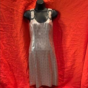 NWOT Tory Burch T Graphic metallic party dress  2